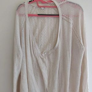 Ivory Solid Women's Cardigan Sweater